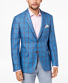Tallia Orange Men's Big & Tall Modern-Fit Aqua Windowpane Sport Coat