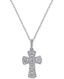 "Diamond Cross Pendant Necklace (1/2 ct. t.w.) in 14k White Gold, 16"" + 2"" extender"