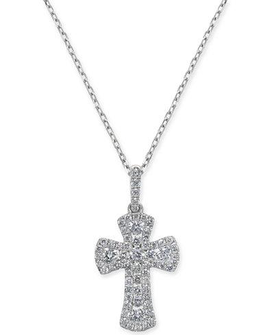 Diamond Cross Pendant Necklace (1/2 ct. t.w.) in 14k White Gold, 16