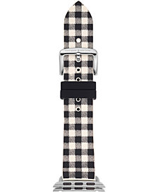 kate spade new york Women's Black & White Gingham Silicone Apple Watch® Strap