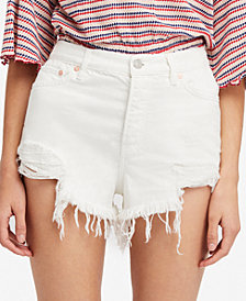 Free People Cotton High-Rise Ripped Denim Shorts