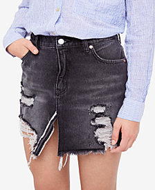 Free People Relaxed & Destroyed Denim Skirt