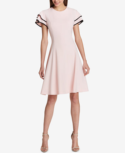 Tommy Hilfiger Flutter-Sleeve Fit & Flare Dress