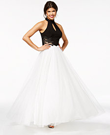 Blondie Nites Juniors' Colorblocked Tulle Halter Gown