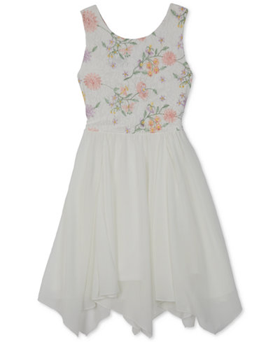 BCX Embroidered Lace-Bodice Dress, Big Girls, Created for Macy's