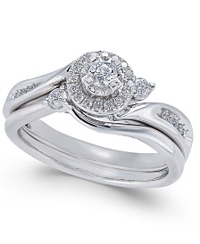 Diamond Twist Bridal Set (1/3 ct. t.w.) in 14k White Gold