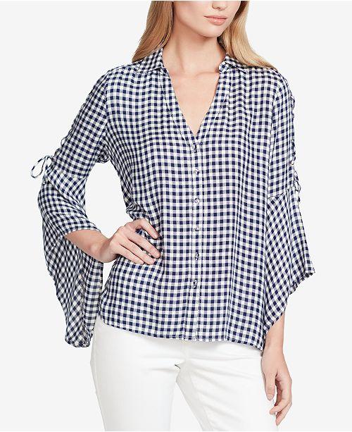 dc458c733e Jessica Simpson Juniors  Michi Gingham Lace-Up Shirt - Tops ...