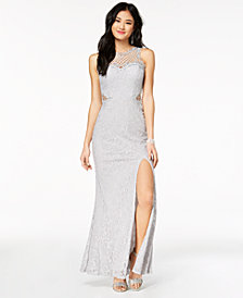 City Studios Juniors' Glitter Lace Illusion Gown