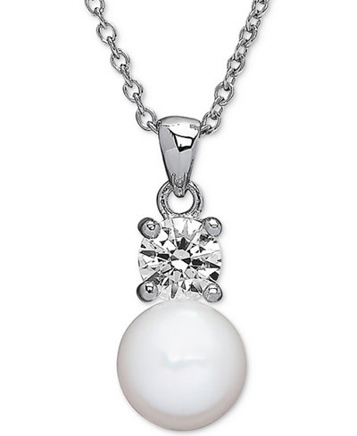 Cultured Freshwater Pearl (7mm) & Swarovski Zirconia Pendant Necklace in Sterling Silver