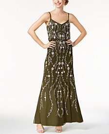 Adrianna Papell Petite Floral Beaded Blouson Gown