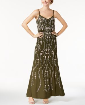 Adrianna Papell Floral Beaded Blouson A Line Evening Gown In Olive