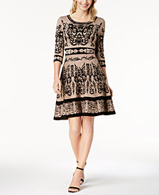 Taylor Intarsia Fit & Flare Sweater Dress
