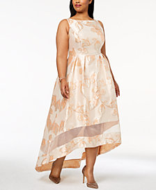 Adrianna Papell Plus Size Printed High Low Gown