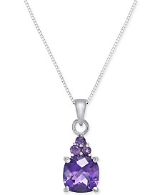 "Amethyst 18"" Pendant Necklace (1-1/2 ct. t.w.) in 14k White Gold"