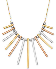 "TriColor Bar and Bead 17"" Statement Necklace in 14k Gold, White Gold & Rose Gold"