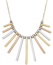 """TriColor Bar and Bead 17"""" Statement Necklace in 14k Gold, White Gold & Rose Gold"""