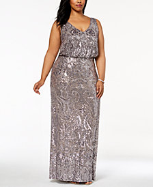 Betsy & Adam Plus Size Sequined Blouson Gown
