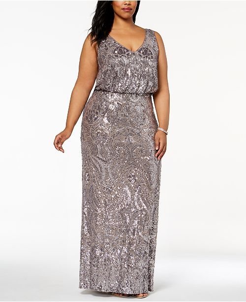 Betsy & Adam Plus Size Sequined Blouson Gown & Reviews ...