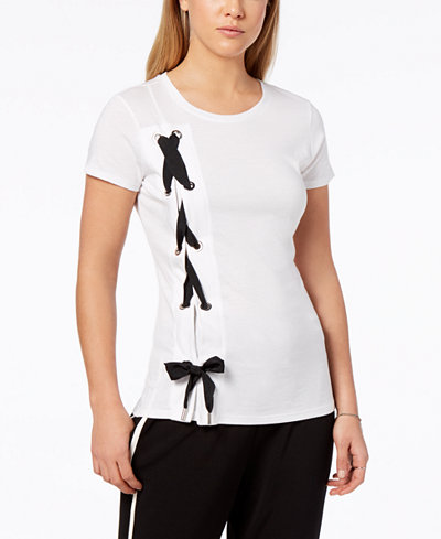 Bar III Lace-Up T-Shirt, Created for Macy's