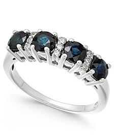Sapphire (1-1/3 ct. t.w.) & Diamond (1/10 ct. t.w.) Ring in 14k White Gold