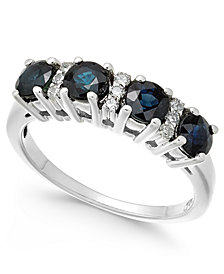 Sapphire (1-1/3 ct. t.w.) & Diamond (1/10 ct. t.w.) Ring in 14k White Gold