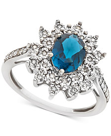 London Blue Topaz (1/2 ct. t.w.) & Diamond (1/5 ct. t.w.) Ring in 14k White Gold