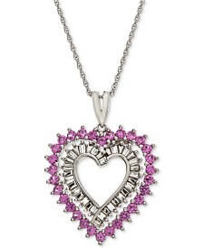 "Lab-Created Pink Sapphire (1 ct. t.w.) & White Sapphire Accent Heart 18"" Pendant Necklace in Sterling Silver"