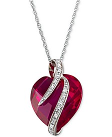 "Lab-Created Ruby (10-3/4 ct. t.w.) & White Sapphire Accent 18"" Heart Pendant Necklace in Sterling Silver"