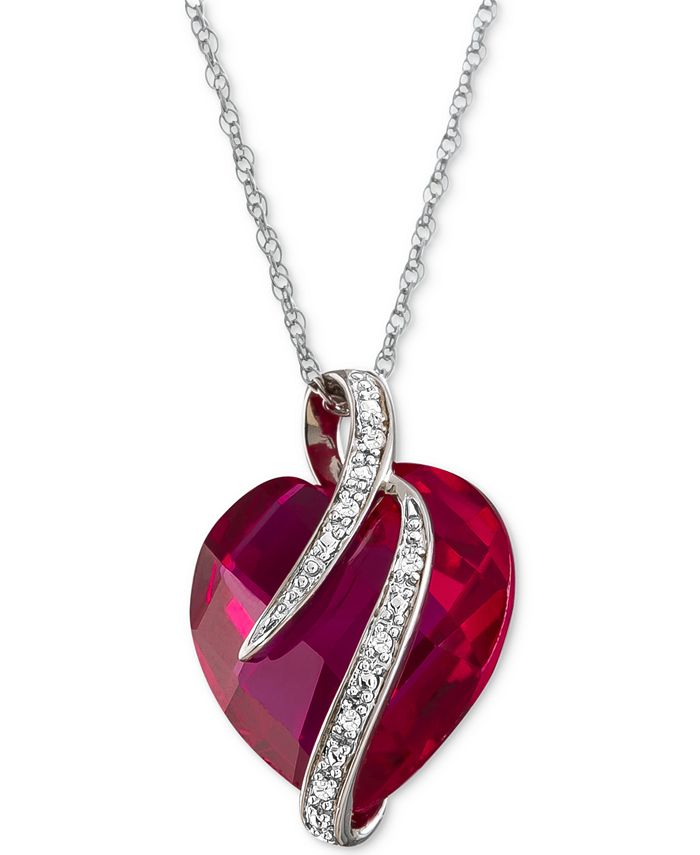 Macy's - Lab-Created Ruby (10-3/4 ct. t.w.) & White Sapphire Accent Heart Pendant Necklace in Sterling Silver