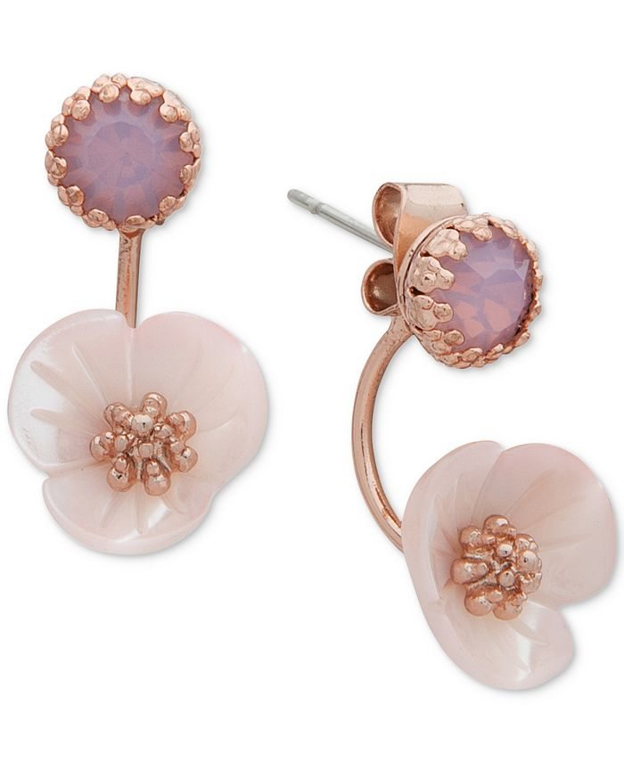lonna & lilly - Gold-Tone White Flower Front and Back Earrings