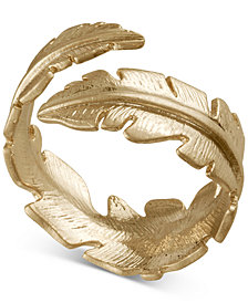 RACHEL Rachel Roy Gold-Tone Feather Wrap Ring