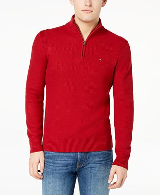 Tommy Hilfiger Mens Quarter Zip Waffle Knit Sweater Created For