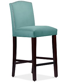 Callon Velvet Nail Button Bar Stool, Quick Ship