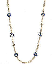 "Charter Club Gold-Tone Nautical Station Strand Necklace, 42"" + 2"" extender, Created for Macy's"