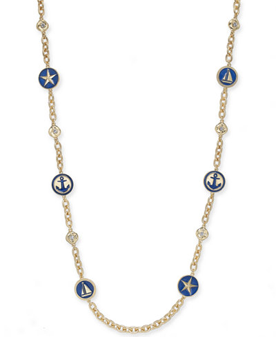 Charter Club Gold-Tone Nautical Station Strand Necklace, 42