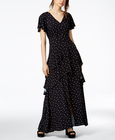Bar III Dot-Print Tiered Maxi Dress, Created for Macy's