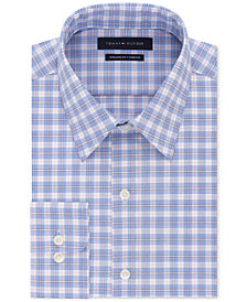 Tommy Hilfiger Men's Fitted Performance Stretch Flex Collar Check Dress Shirt