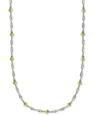 "20"" Beaded Singapore Chain Necklace in Sterling Silver & 18k Gold-Plate, Created for Macy's"