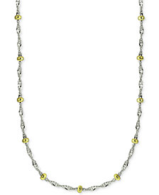 "Giani Bernini 20"" Beaded Singapore Chain Necklace in Sterling Silver & 18k Gold-Plate, Created for Macy's"
