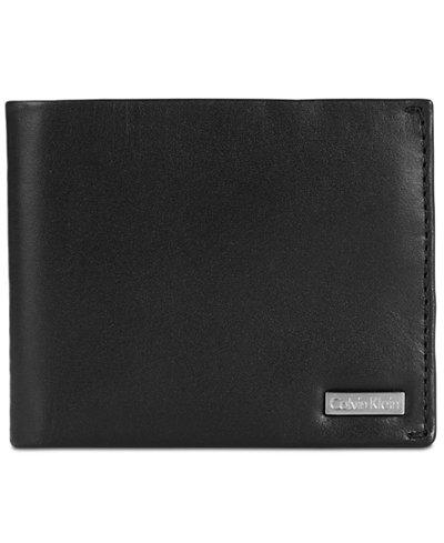 Calvin Klein Men's Smooth Shine Leather Bifold ID Wallet