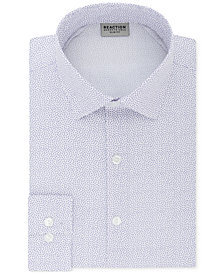 Kenneth Cole Reaction Men's Techni-Cole Slim-Fit Three-Way Stretch Performance Purple Pattern Dress Shirt