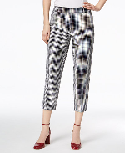 Charter Club Gingham Newport Cropped Pants, Created for Macy's
