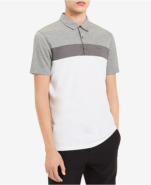 c4d566bc2 Calvin Klein Men's Liquid Touch Colorblock Polo; Calvin Klein Men's Liquid  Touch Colorblock ...
