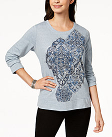Style & Co Long-Sleeve Metallic-Graphic Sweatshirt, Created for Macy's
