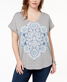 Style & Co Plus Size Printed V-Neck T-Shirt, Created for Macy's