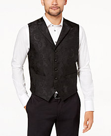 Tallia Orange Men's Modern-Fit Black Tonal Paisley Vest