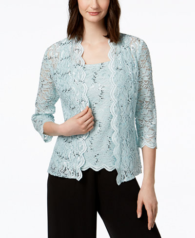 Alex Evenings Sequined Lace Jacket & Shell