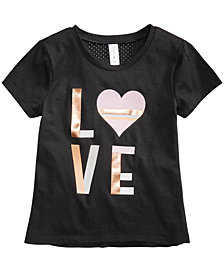 Ideology Love-Print T-Shirt, Little Girls, Created for Macy's