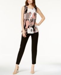 Alfani Printed Top & Tummy-Control Skinny Pants, Created for Macy's