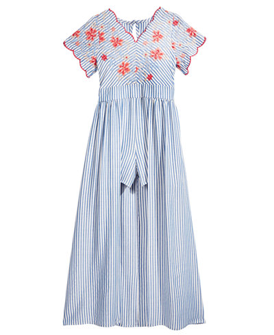 Crystal Doll Embroidered Maxi-Length Romper, Big Girls